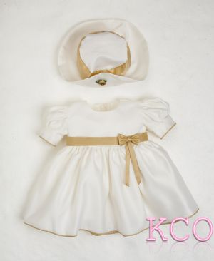 Baby Bow Dress Cream/Gold~ Girls Dress